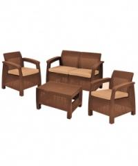 Промоция на Корфу-ратан диван 2-ка в кафяво
